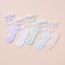 Girls Contrast Mesh Socks