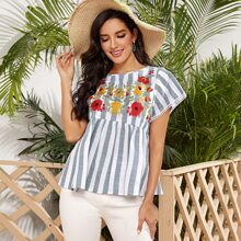 Floral Embroidery Cut-out Back Striped Peplum Top