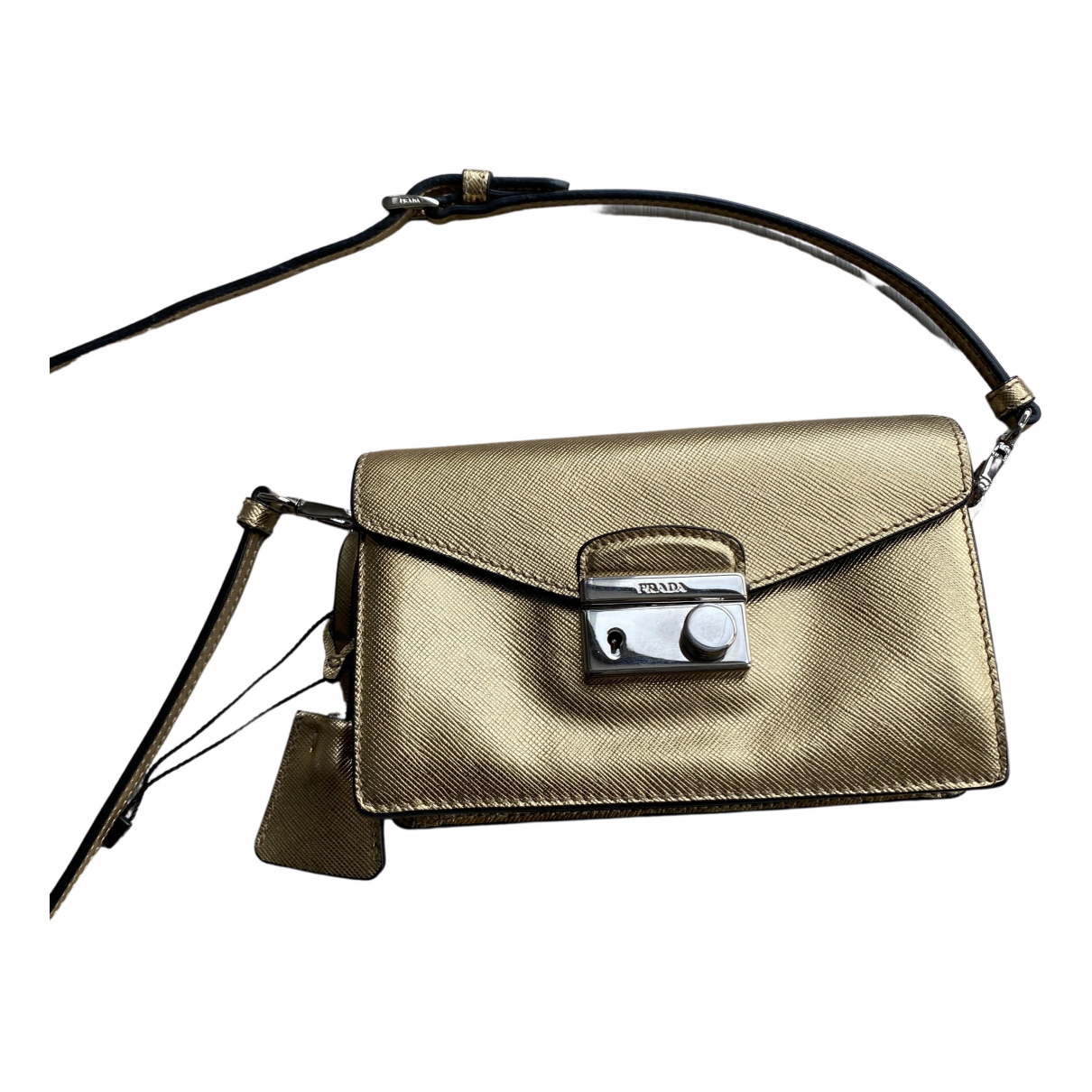 Prada saffiano  Gold Leather handbag for Women N
