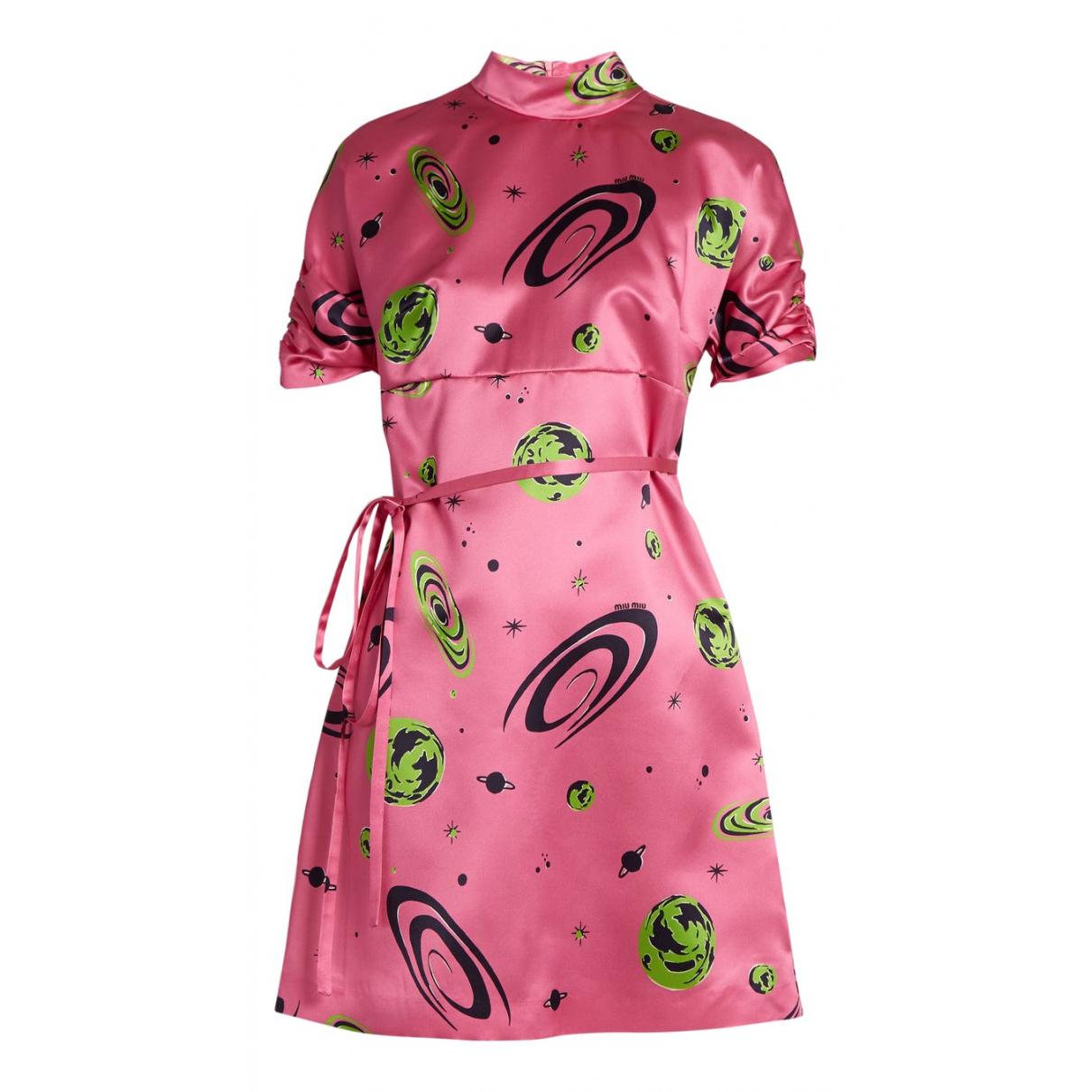 Miu Miu - Robe   pour femme en soie - rose