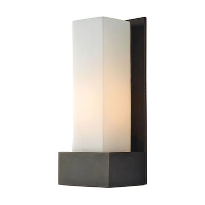 WS121-10-45 Solo w Large Backplate 120V Sconce. White Opal shade / Oil-Rubbed Bronze