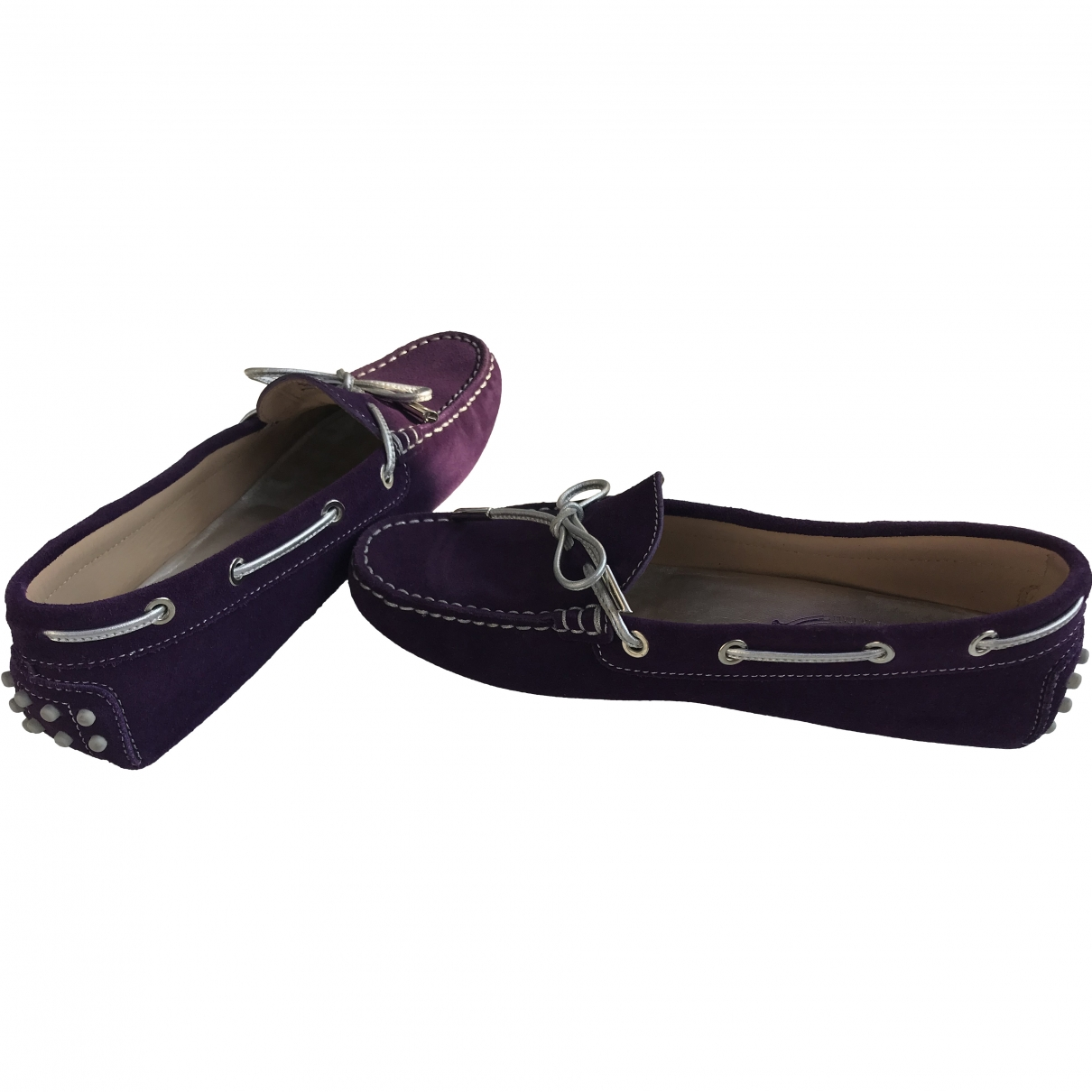 Tod's Gommino Purple Suede Flats for Women 38 EU