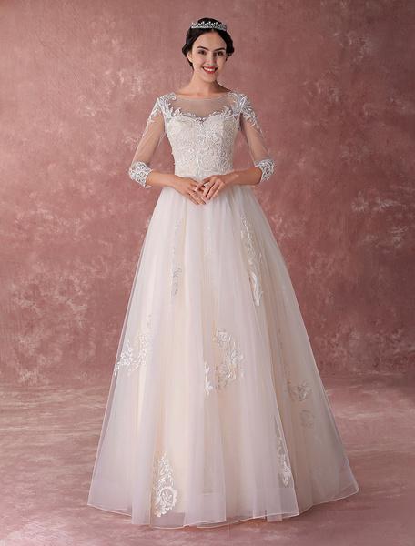 Milanoo Vestidos de novia de Champagne Vestido de novia Ball vestido de novia de encaje Tulle con cuentas de lujo Maxi vestidos de novia