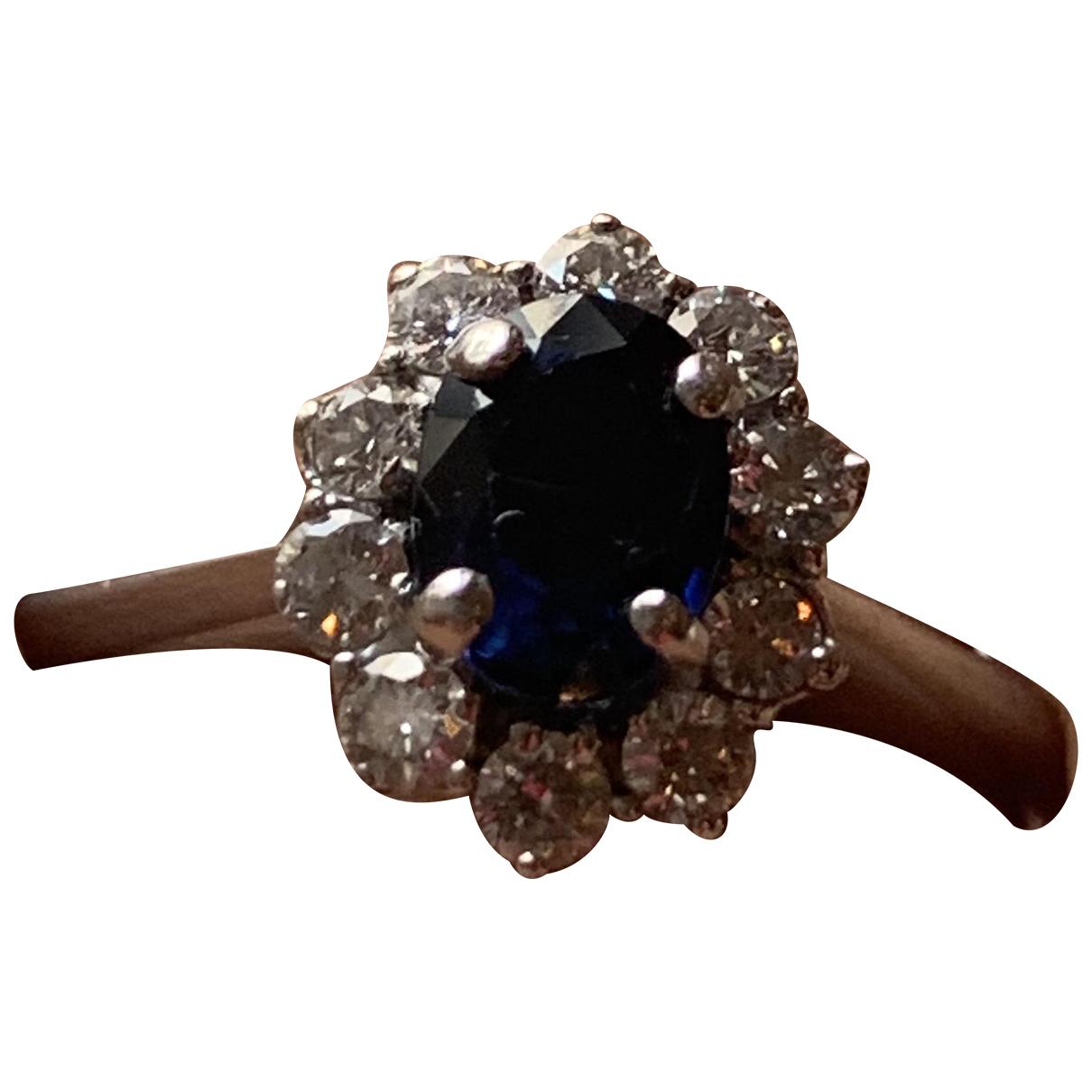 Non Signe / Unsigned Saphir Ring in  Blau Weissgold