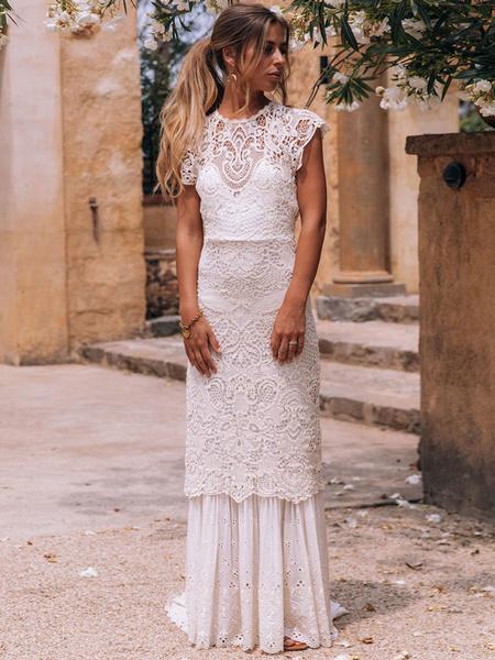 Milanoo Vestido de novia de encaje 2020 vaina joya cuello sin mangas piso-longitud espalda ahuecada vestido de novia