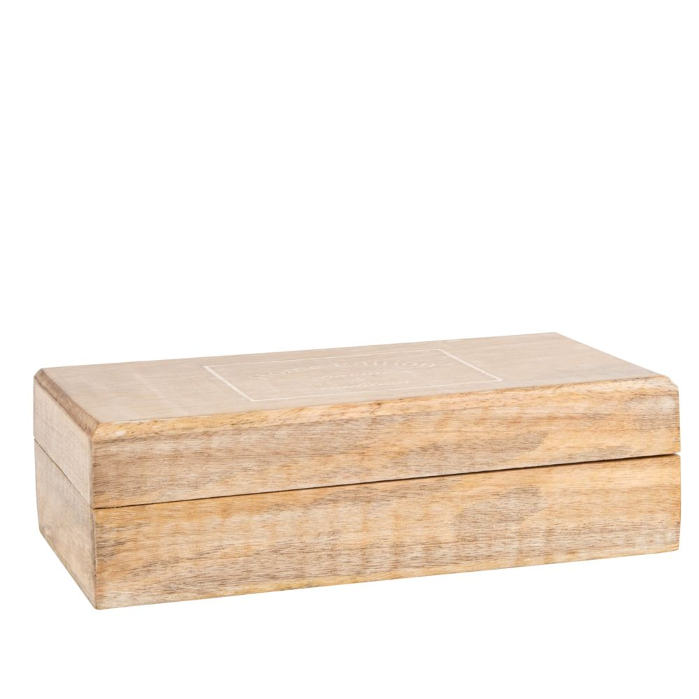 Kiste aus Mangoholz, beige und weiss