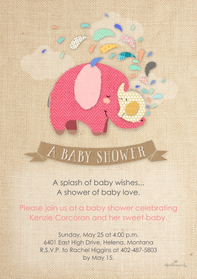 Baby Shower Invitations 5x7 Cards, Standard Cardstock 85lb, Card & Stationery -Cute Stitched Elephants - Pink