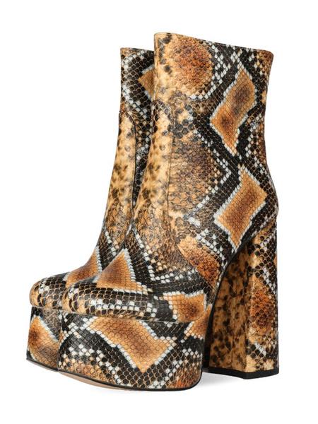 Milanoo Botines de mujer Cuero de PU Marron claro Estampado de serpiente Punta redonda Botas de plataforma de tacon alto