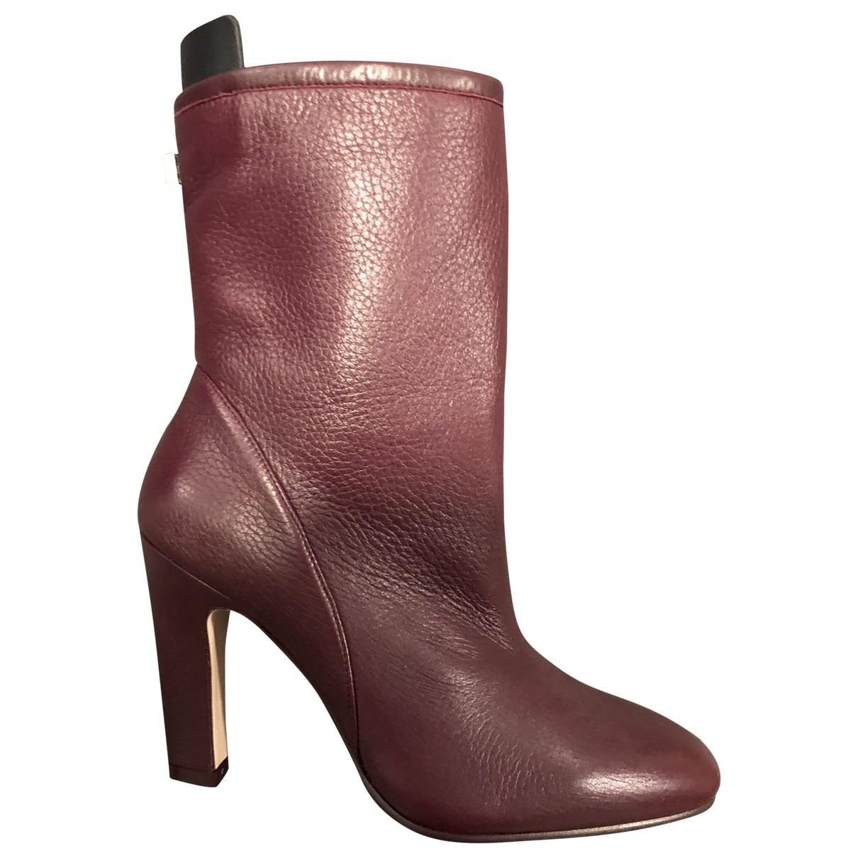 Stuart Weitzman \N Burgundy Leather Ankle boots for Women 37.5 EU
