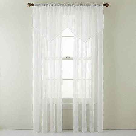 Home Expressions Sheer Rod-Pocket Single Curtain Panel, One Size , White