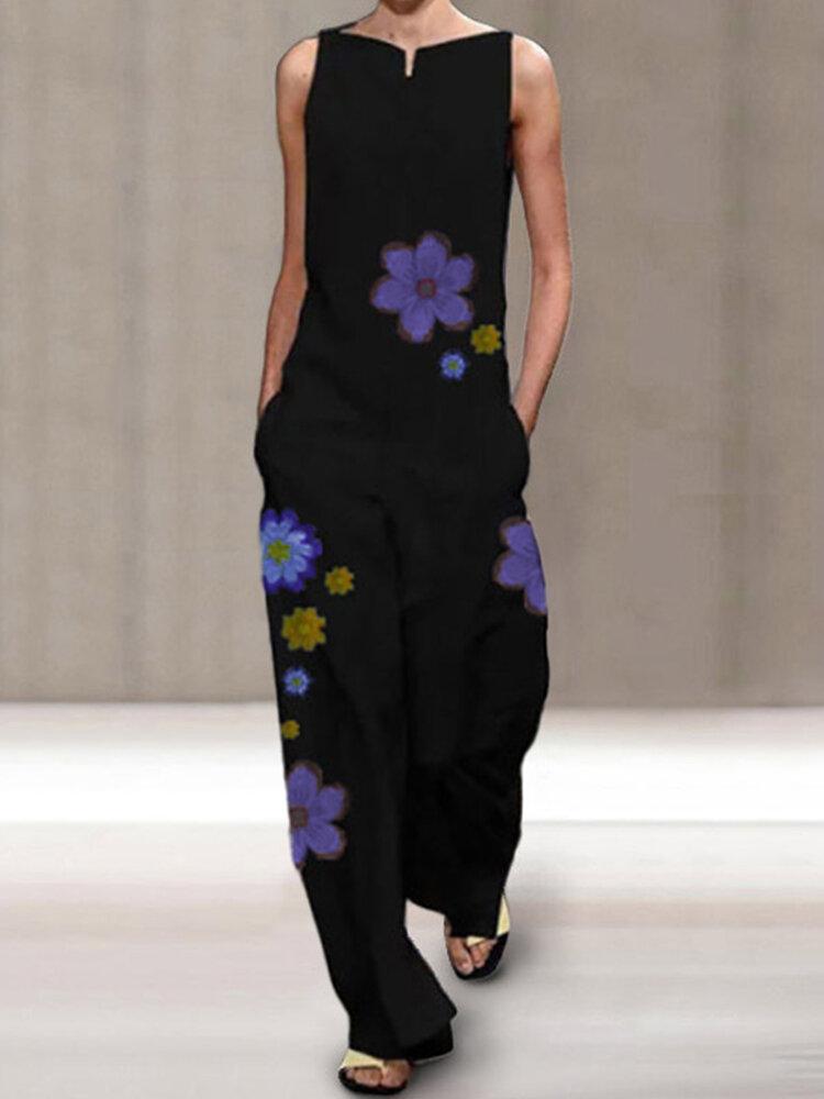 Flower Print Sleeveless Casual Jumpsuit For Women