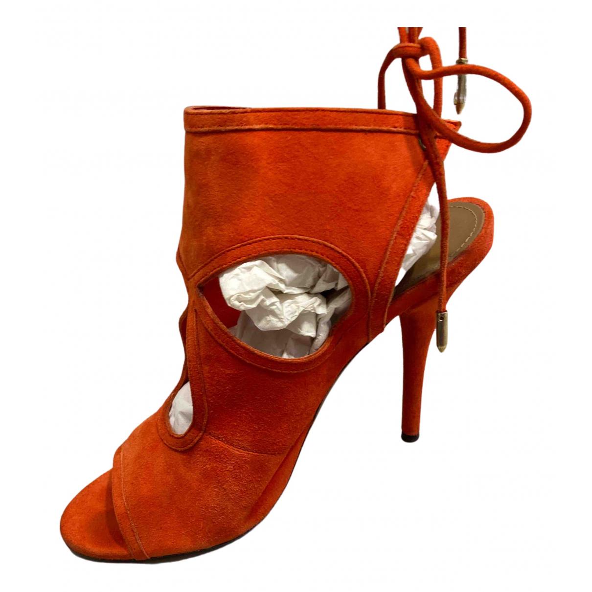 Aquazzura Sexy Thing Orange Suede Heels for Women 36.5 EU