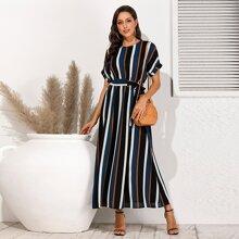 Striped Belted Keyhole Back Dress