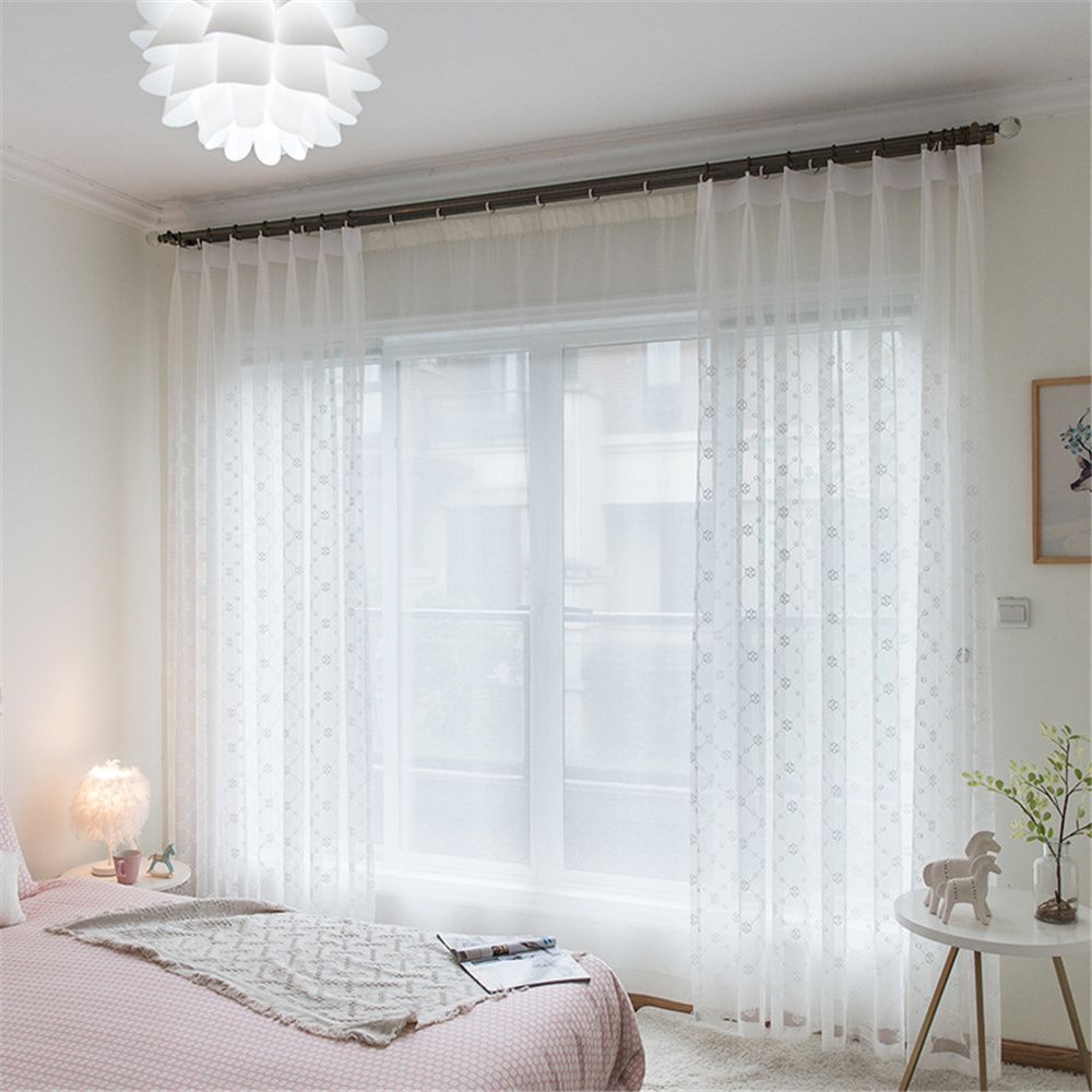 Modern Delicate Embroidered Voile Sheer Curtains with Fancy Polyester Cotton for Great Breathability and Privacy Soft Touch and Durability Material