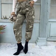 Pantalones Boton Camuflaje Casual