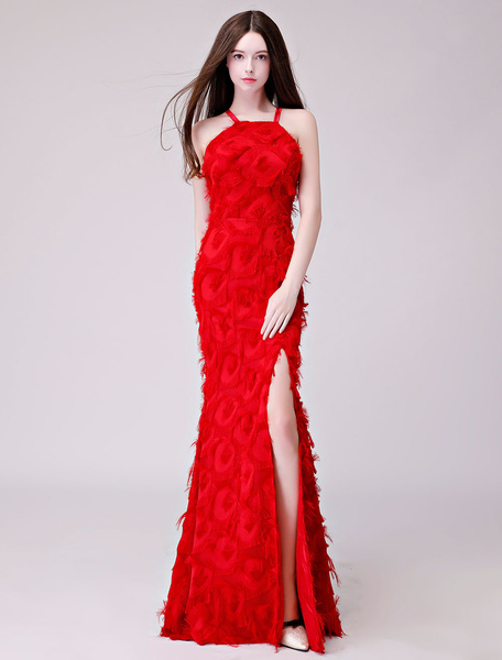 Milanoo Prom Dresses Sexy Split Long Feathers Halter Formal Gowns