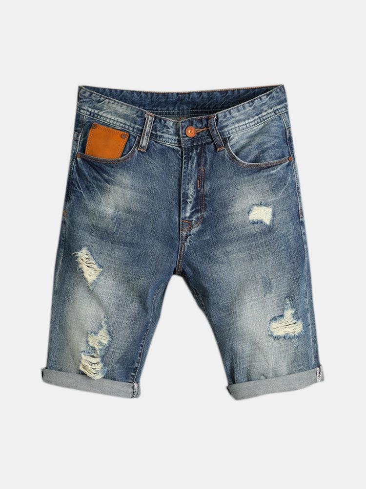 Retro Biker Loose Thin Holes Short Ripped Jeans for Men