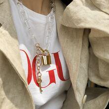 Lock & Key Charm Chain Necklace 1pc