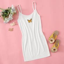 Girls Butterfly Print Slip Dress