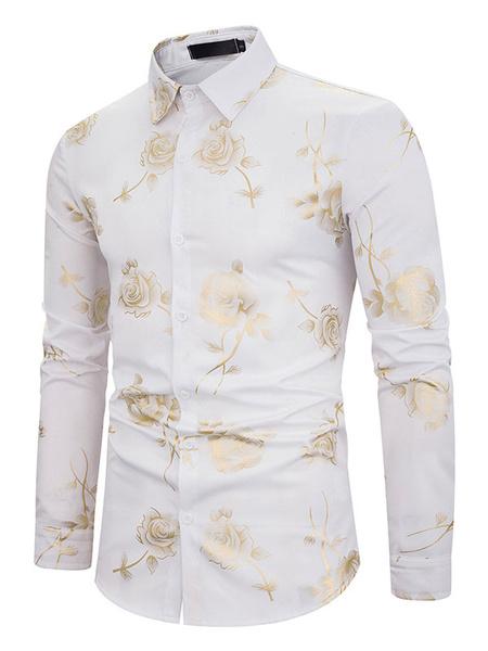 Milanoo Camisa casual de hombre Camisa descubierta Manga larga Camisa con estampado floral