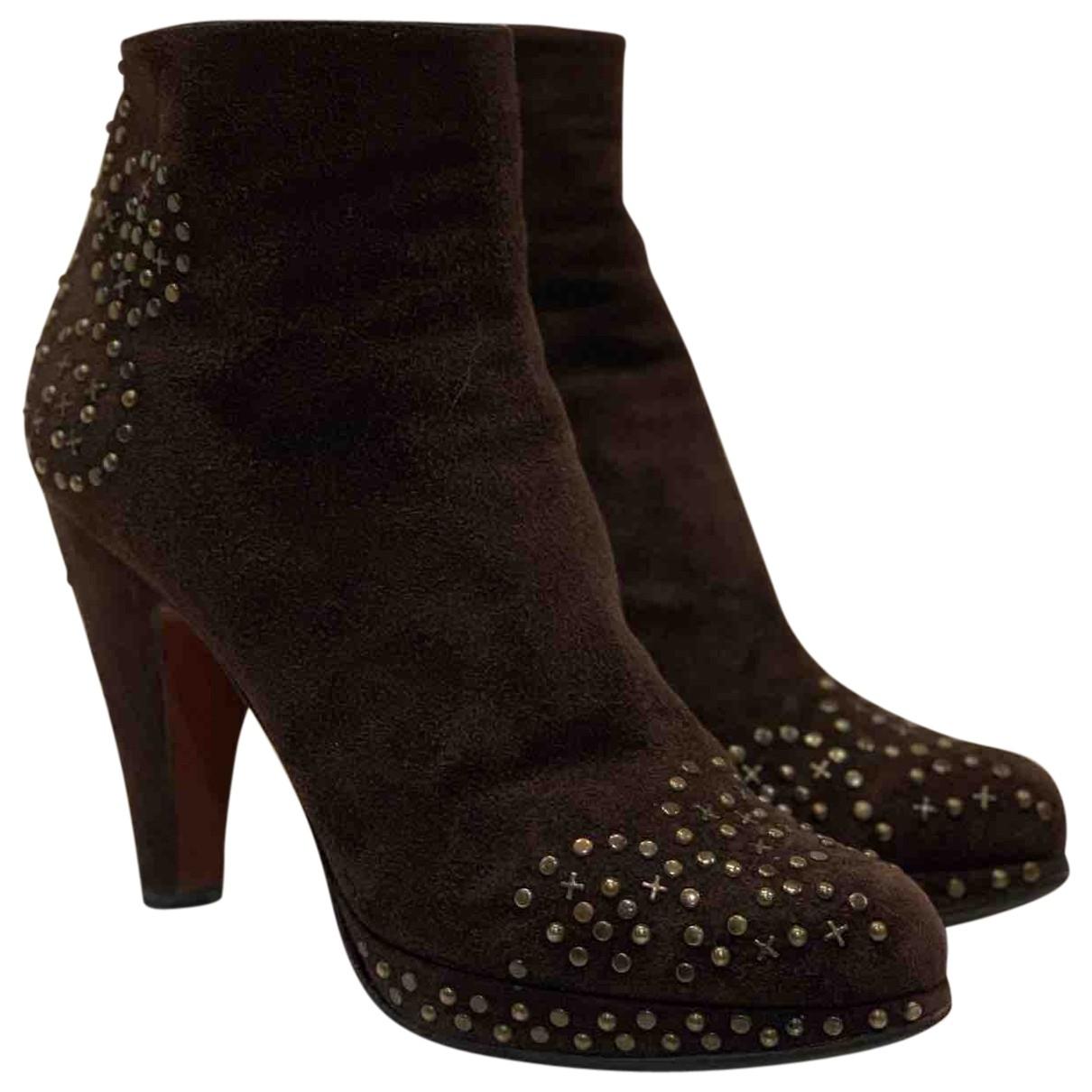 Alaia - Boots   pour femme en suede - marron