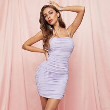 Ruched Mesh Bodycon Cami Dress