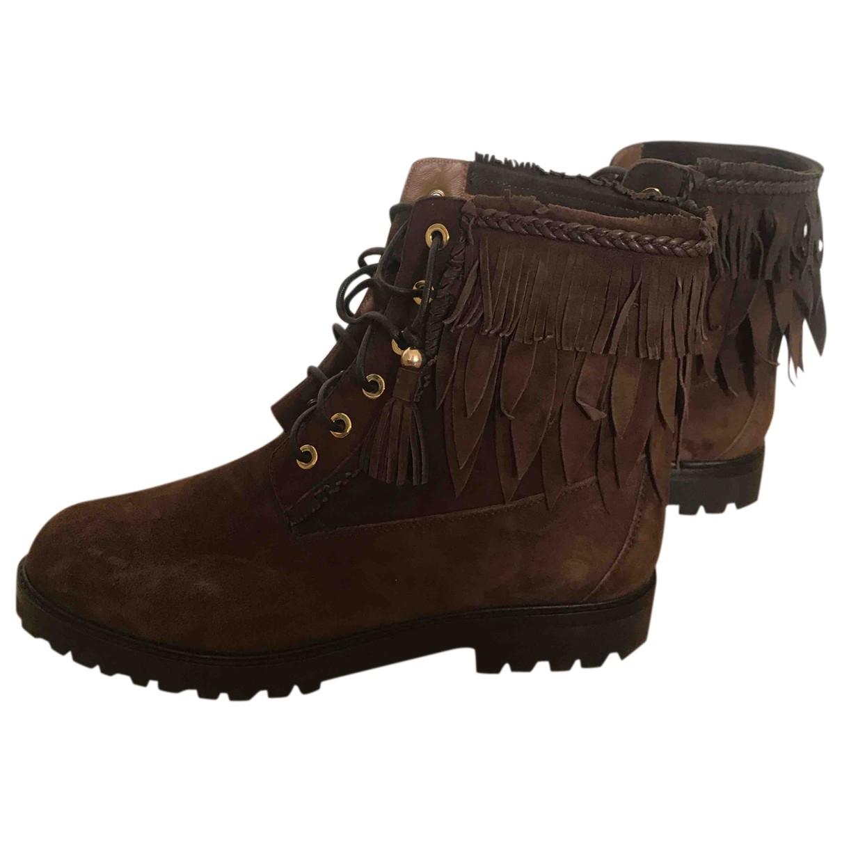 Aquazzura - Boots   pour femme en suede - camel