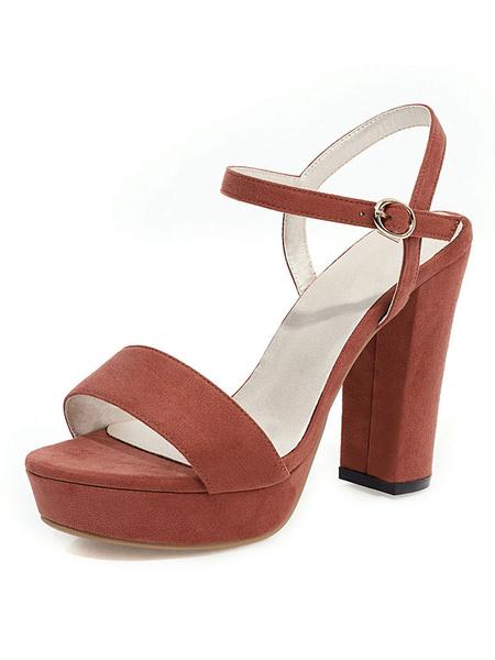 Milanoo Sandalias con plataforma Chunky Heel Open Toe Zapatos de talla grande para mujer