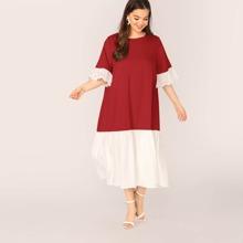 Ubergrosses Kleid mit Ose Stickereien und Farbblock