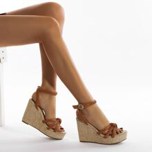 Braided Strap Ankle Strap Wedges