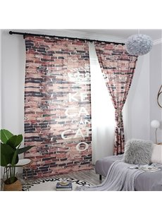 3D Red Brick Wall Printed Decorative Custom Semi-Blackout Curtains