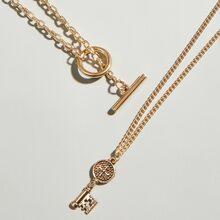 2 Stuecke Halskette mit Schluessel Anhaenger