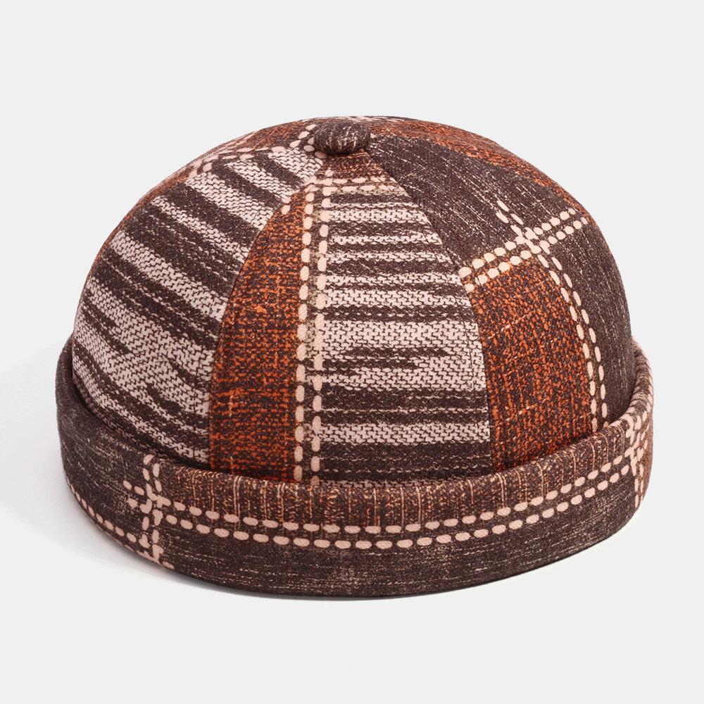Men & Women Lattice Stripe Color Block Stitching Landlord Hat Skull Caps