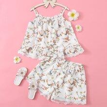 Girls Lace Trim Floral Print Cami Top & Shorts Set