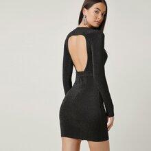 Kleid mit Ausschnitt hinten, Guertel und Glitzer
