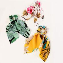 3pcs Tropical Pattern Scrunchie Scarf