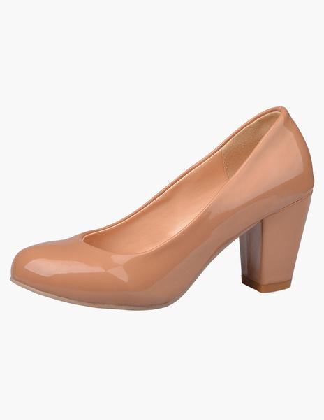 Milanoo Round Toe Glazed PU Pretty Mid-Low Heels For Women