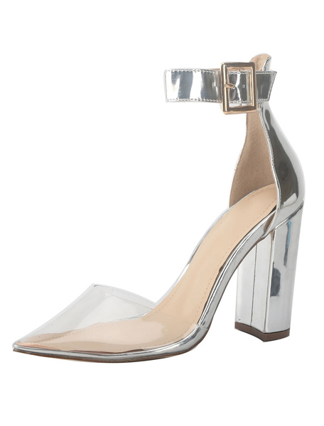 Milanoo Women High Heels Gold Pointed Toe Ankle Strap Pumps