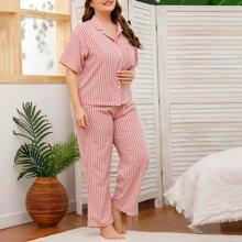 Plus 3pcs Stripe Print Pants Pajama Set & Eye Cover