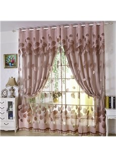 Rose-gold European Style Burnout and Embroidered Floral Blackout Curtains
