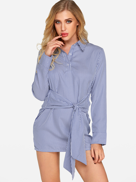 Yoins Blue Self-tie Design Stripe Lapel Collar Long Sleeves Dresses