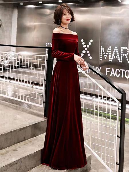 Milanoo Evening Dresses Velvet Long Sleeve Off Shoulder Maxi Formal Gowns
