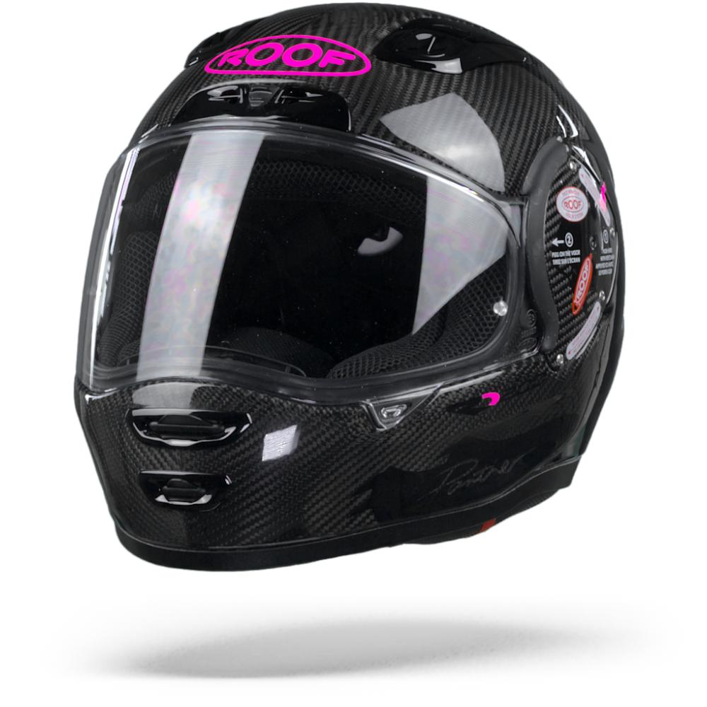 ROOF RO200 Carbon Panther Casco Integral Negro Rosa Fluo S