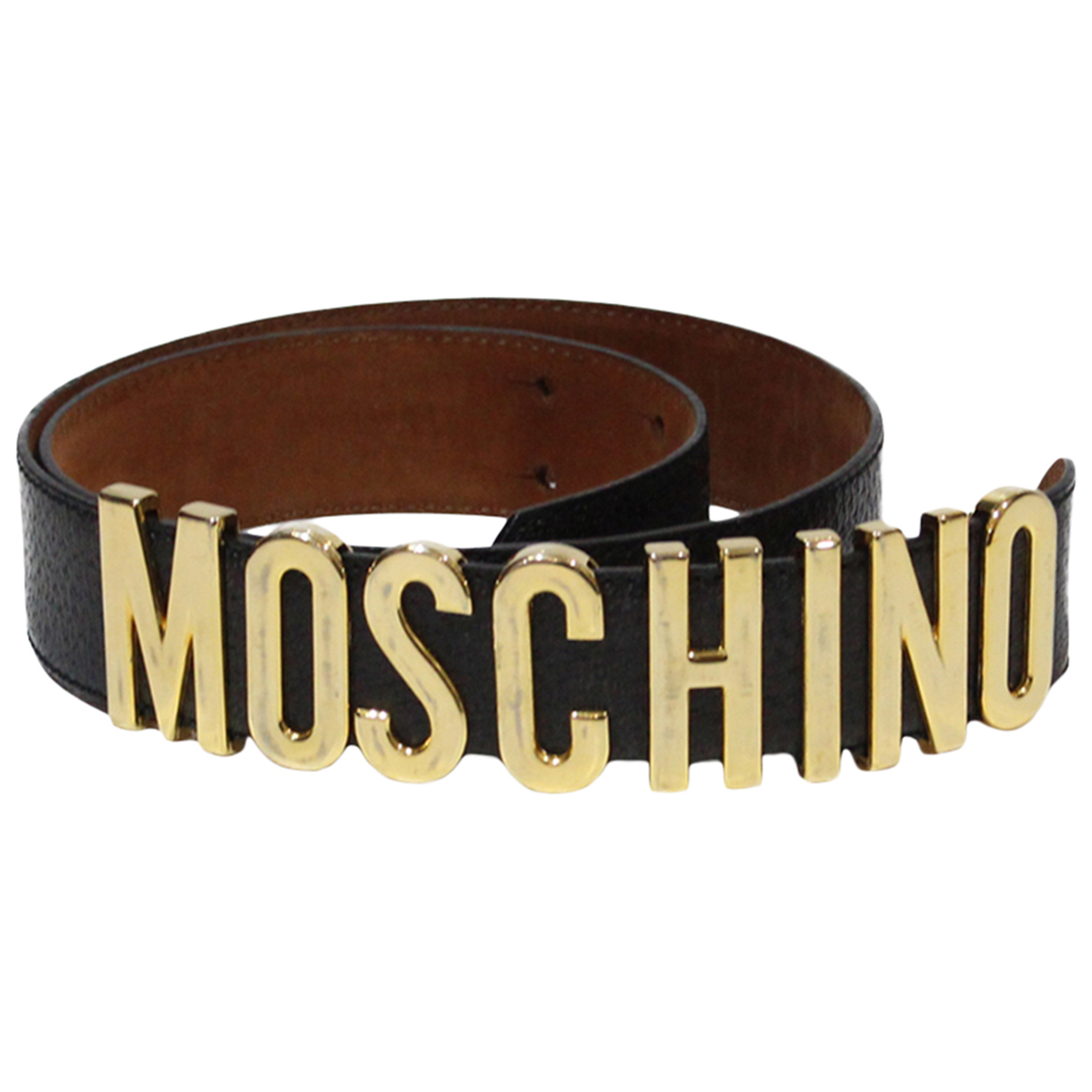 Moschino N Brown Leather belt for Women 90 cm