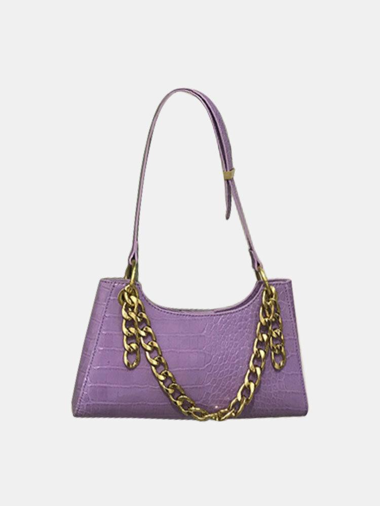 Women Crocodile Pattern Chain Shoulder Bag