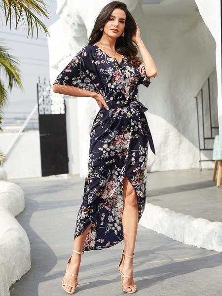 YOINS Navy Belt Design Floral Print V-neck Half Sleeves Dress