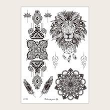 1 hoja tatuaje con patron de mandala y leon
