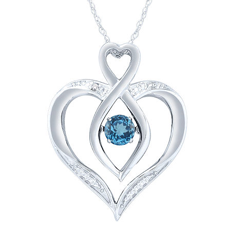 Womens Diamond Accent Lab Created Blue Topaz Sterling Silver Round Pendant, One Size , No Color Family