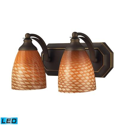 570-2B-C-LED 2 Light Vanity in Aged Bronze and Coco Glass -