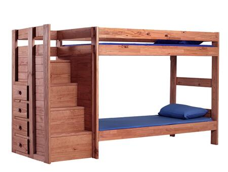31123 Twin Over Twin Staircase Bunk Bed Mahogany